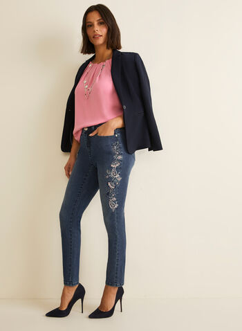 Floral Embroidered Jeans, Blue,  jeans, straight leg, cotton, pockets, embroidery, rhinestones, spring summer 2020