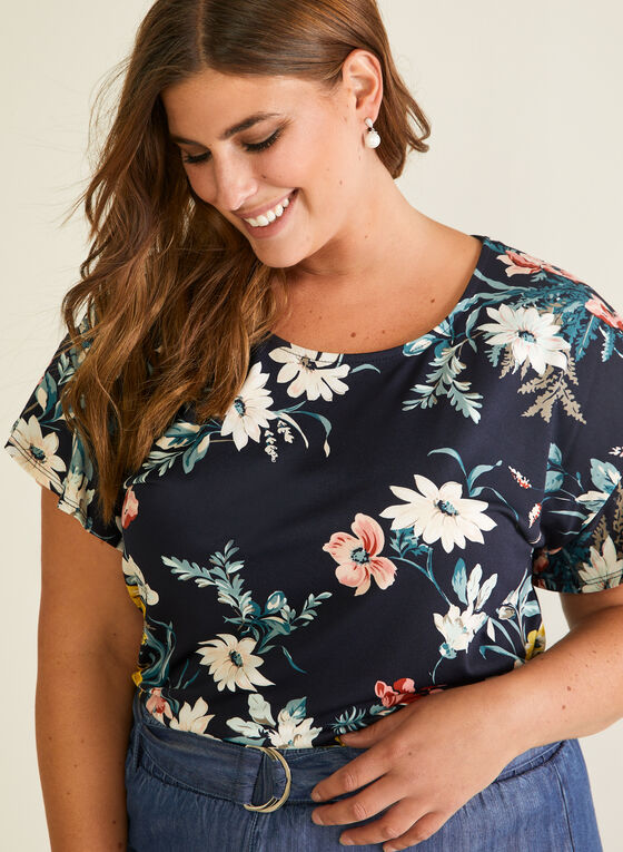 Floral Print Ruffle Sleeve Top, Multi