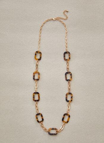 Collier à maillons dorés et résine mouchetée, Brun,  accessoires, bijoux, collier, collier long, larges maillons, doré, rectangle, forme rectangulaire, résine mouchetée, mousqueton, printemps été 2021