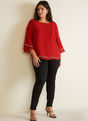 Tiered Bell Sleeve Chiffon Blouse, Red,  top, blouse, tiered, bell sleeve, embellished, chiffon, rhinestone, fall winter 2020