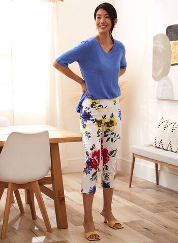 Charlie B - Pantalon 3/4 à motif floral, Blanc,  pantalon, charlie b, à enfiler, jambe droite, fente, motif, floral, fleuri, printemps été 2021