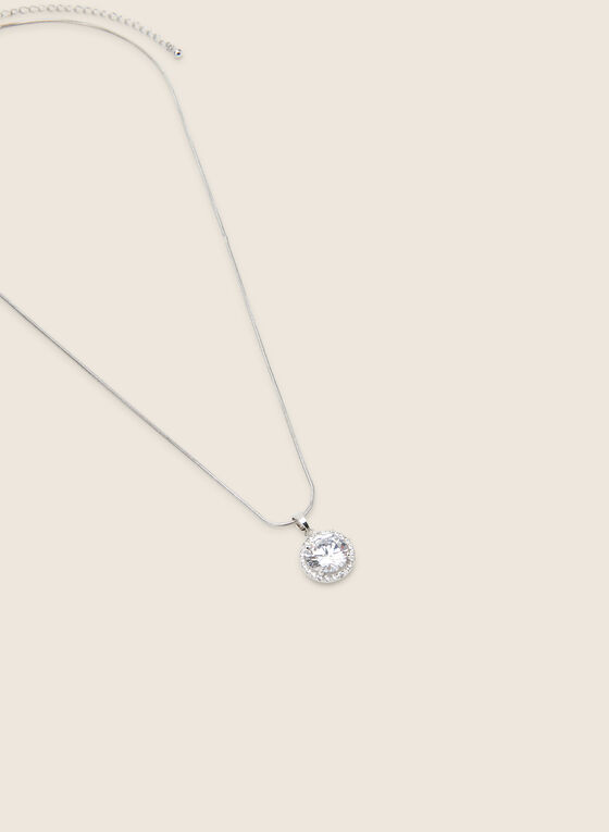 Faceted Stone Pendant Necklace, Silver