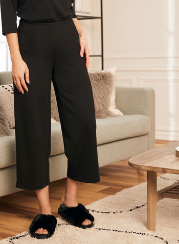 Pull-On Wide Leg Pants, Black,  pants, pull-on, wide leg, ponte di roma, fall winter 2021
