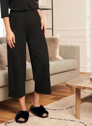 Pantalon écourté à jambe large, Noir,  automne hiver 2021, pantalon, pull-on, à enfiler, taille élastique, jambe large, point de Rome, confortable, extensible, cheville, écourté
