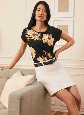 Floral Print Drop Shoulder Top, Black,  blouse, top, short sleeve, made in canada, scoop neck, drop shoulder, floral print, cape sleeve, contrast band, comfort, stretch