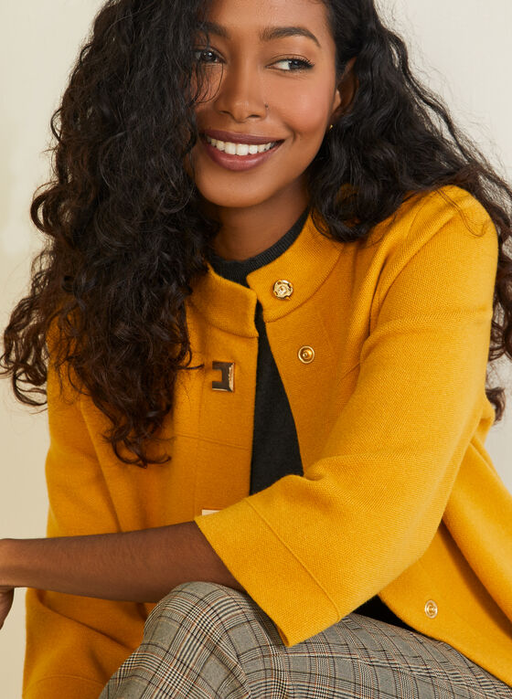 Button Front Trapeze Cardigan, Yellow