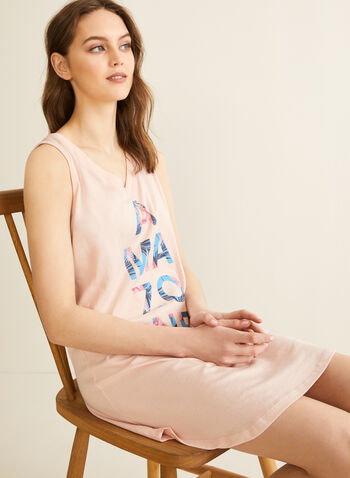 Comfort & Co. - Sleeveless V-Neck Nightgown, Pink,  sleepwear, pyjamas, nightshirt, nightgown, v-neck, sleeveless, spring summer 2020