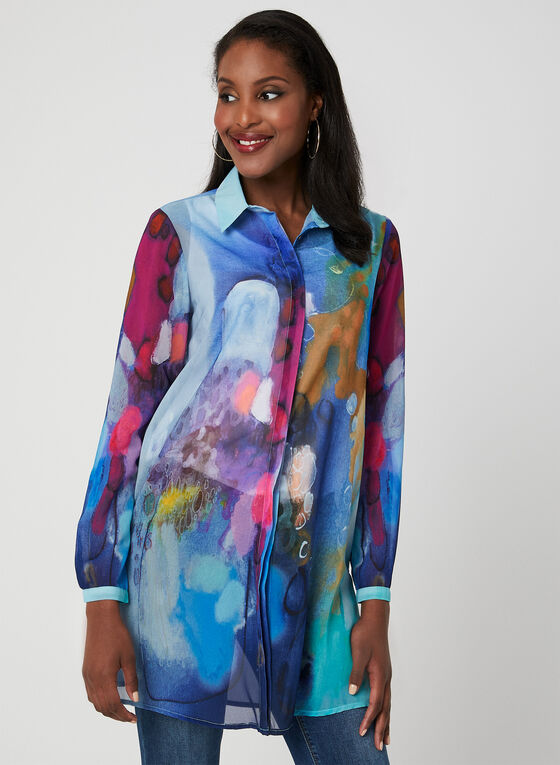 Carré Noir - Chiffon Tunic Blouse, Blue, hi-res