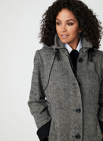 Manteau en tweed à capuchon amovible, Noir, hi-res