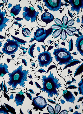 Foulard léger à imprimé floral , Bleu,  foulard, léger, carré, fleurs, bleu, soie, printemps été 2021