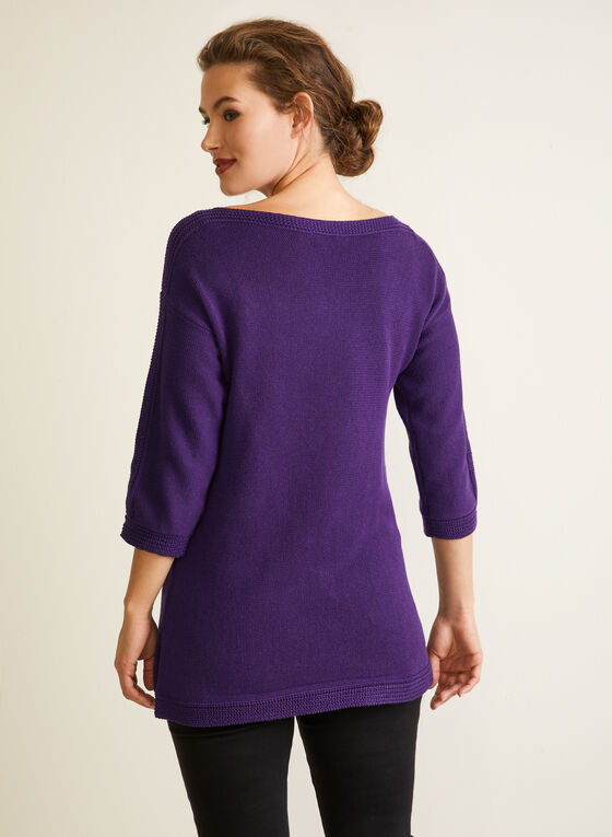 3/4 Sleeves Sweater With Shimmer, Purple