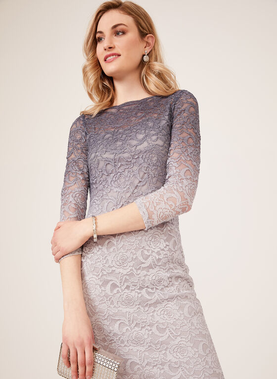 Ombré Lace Illusion Dress, Silver, hi-res