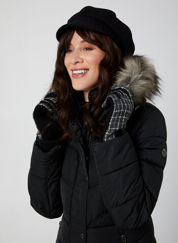 Bernardo - Quilted Faux Down Coat, Black,  coat, quilted, removable hood, front pockets, faux fur trim, Bernardo, fall 2019, winter 2019