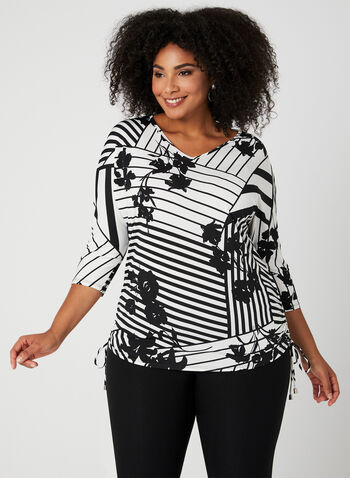 Mixed Print Jersey Top, Black, hi-res