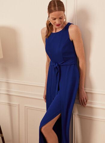 Slit Wide Leg Jumpsuit, Blue,  jumpsuit, wide leg, slit, crepe, tulip, sleeveless, fall winter 2020