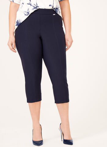 Pull-On Straight Leg Bengaline Capri Pant, Blue, hi-res