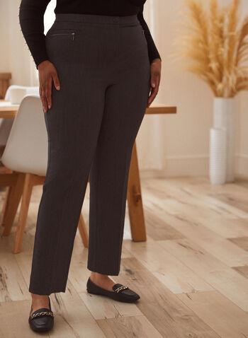 Pantalon coupe signature à jambe droite, Gris,  automne hiver 2020, pantalon, coupe signature, jambe droite, zip, glissière, plus petites