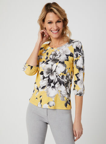 Floral Print ¾ Sleeve Top, Yellow, hi-res