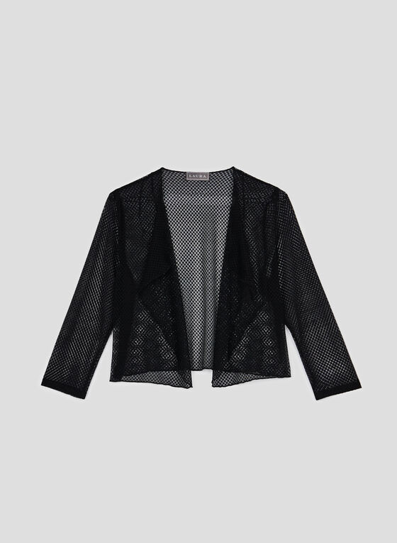 ¾ Sleeve Mesh Bolero, Black