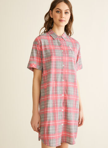 Comfort & Co. - Button Front Nightshirt, Grey,  spring summer 2020, short sleeves, pointed collar, plaid print, button down, Made in Canada