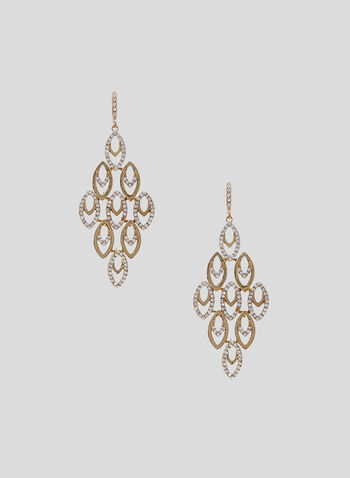 Boucles d'oreilles chandelier à cristaux, Or, hi-res