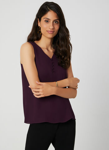 Button Neck Sleeveless Top, Purple, hi-res,  V-neck, sleeveless, fall 2019, winter 2019,