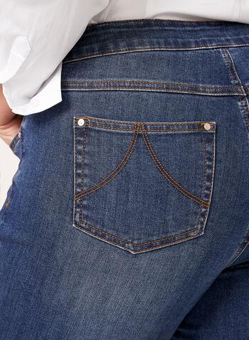 Jean pull-on coupe moderne à jambe étroite, Bleu, hi-res