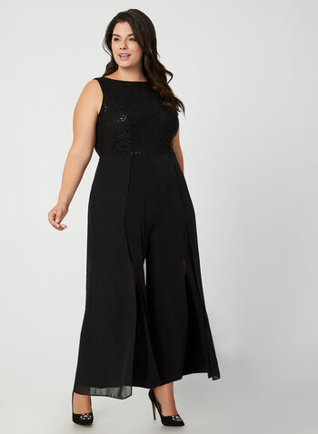 Jumpsuit With Lace & Sequins, Black, hi-res,  jumpsuit, lace jumpsuit, lace, sequins, sequin jumpsuit, chiffon, wide leg jumpsuit, Holiday. fall 2019, winter 2019