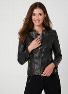 Faux Leather Front Zip Blazer, Black