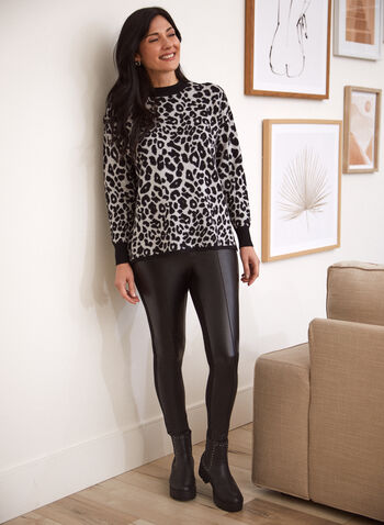 Leopard Print Sweater, Grey,  fall 2021, shirt, top, sweater, pullover, mock neck, long sleeves, ribbed, knit, cuffs, side slits, leopard print, animal print, pattern, comfy, cozy