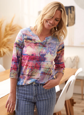 Abstract Print 3/4 Sleeve Tee, Multi,  spring summer 2021, made in canada, split v neck, 3/4 sleeves, abstract print, pattern, top, tee, blouse, kaleidoscope, colours