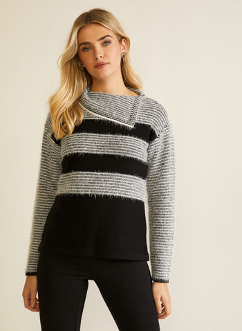 Pull en tricot pelucheux à rayures, Noir,  automne hiver 2020, pull, chandail, tricot, manches longues, col à rabat, rayures, motif, rayé, tricot, poilu, peluche