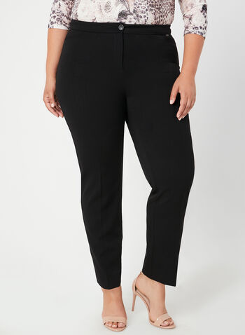 Modern Fit Straight Leg Pants, Black,  straight leg, tummy control, stretchy, petite, fall 2019, winter 2019