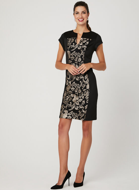 Floral Embroidered Scuba Dress, Black, hi-res