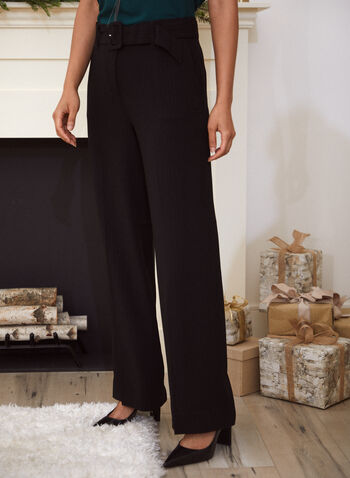 Belted Wide Leg Pants, Black,  pants, wide leg, belted, pleated, high rise, fall winter 2020