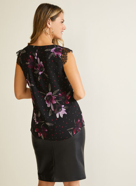Lace Detail Floral Print Blouse, Black