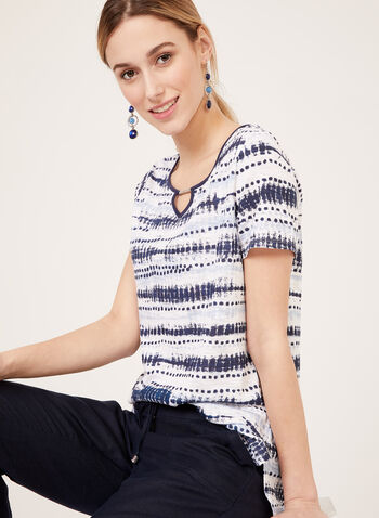 Abstract Stripe Print T-Shirt, Blue, hi-res