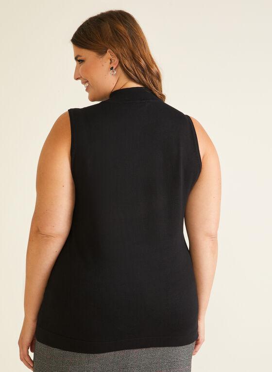 Mock Neck Sleeveless Sweater, Black