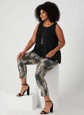Pantalon coupe cité à motif animalier, Brun, hi-res,  automne hiver 2019, jambe étroite, coupe cité, imprimé, pull-on