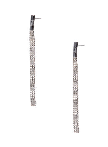 Linear Crystal Earrings, Silver, hi-res