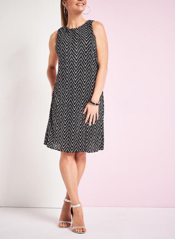 Graphic Print A-Line Shift Dress, Black, hi-res