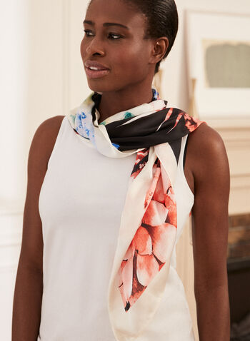 Floral Print Scarf, Black,  Spring summer 2021, accessories, accessory, print, floral, flowers, bouquet, contrast