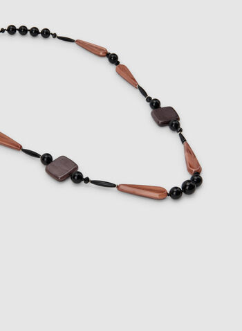 Long Geometric Bead Necklace, Black,  beaded necklace, modern necklace