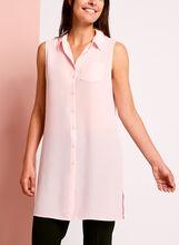 Sleeveless Button Down Chiffon Blouse, Pink, hi-res