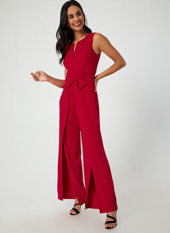 Sleeveless Crepe Jumpsuit, Red, hi-res,  jumpsuit, crepe jumpsuit, sleeveless jumpsuit, sleeveless, holiday, comfortable, wide leg, fall 2019, winter 2019