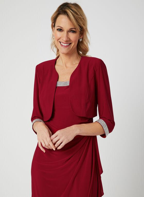 Embellished Dress & Jacket Set, Red, hi-res
