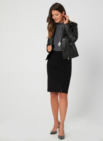 Faux Leather Moto Jacket, Black, hi-res,  short jacket, faux-leather jacket
