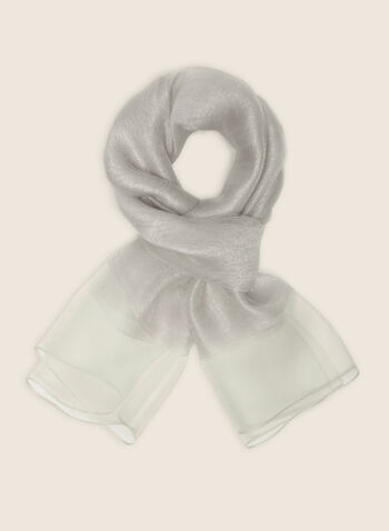 Silk Blend Lightweight Scarf, Silver,  scarf, lightweight, silk, metallic, sheer, spring summer 2020