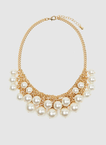 Pearl Cluster Necklace, Off White, hi-res
