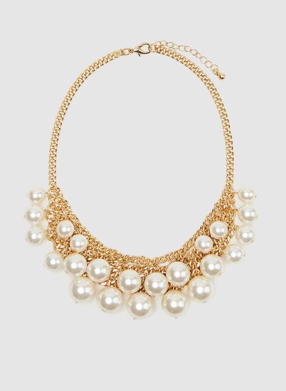 Collier à grosse maille et perles, Blanc cassé, hi-res